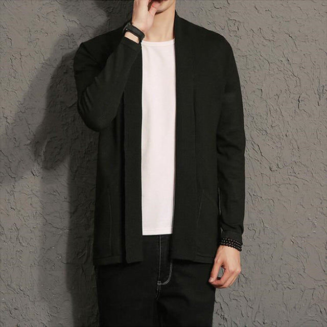 2018 the spring autumn fashion brand men's pure color long thin cardigan sweater/thin body big size sweater cardigan/size S-5XL