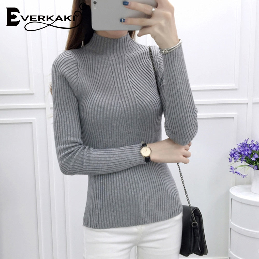 2018 Winter Women Sweater Long Sleeve High Elastic Knitted Pullovers Sweater Women Turtleneck Autumn Sweater Slim Warm