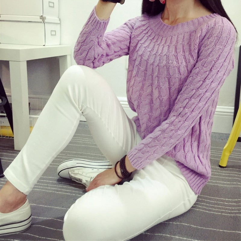 Korean style knitewear women sweater 2018 winter tops for women long sleeve asual crop sweaters plus size pullover jumpers white