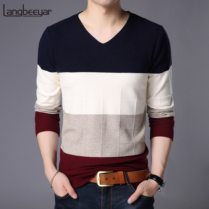 2018 New Fashion Brand Sweater For Mens Pullover V Neck Slim Fit Jumpers Knit Striped Autumn Korean Style Casual Mens Clothes