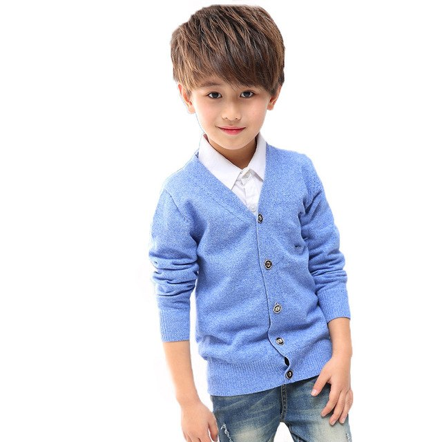 Autumn Boys Cardigan Baby Clothes 2018 Boy Cotton Solid Long Sleeve Sweaters Kids Causal Knitted Tops Preppy Style to School