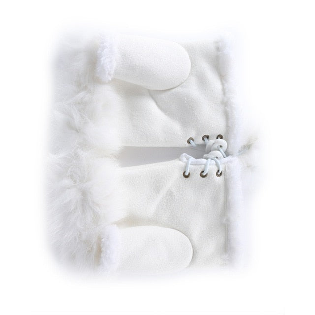 Women Winter Glove Faux Rabbit Fur Hand Wrist Warmer Fingerless Gloves