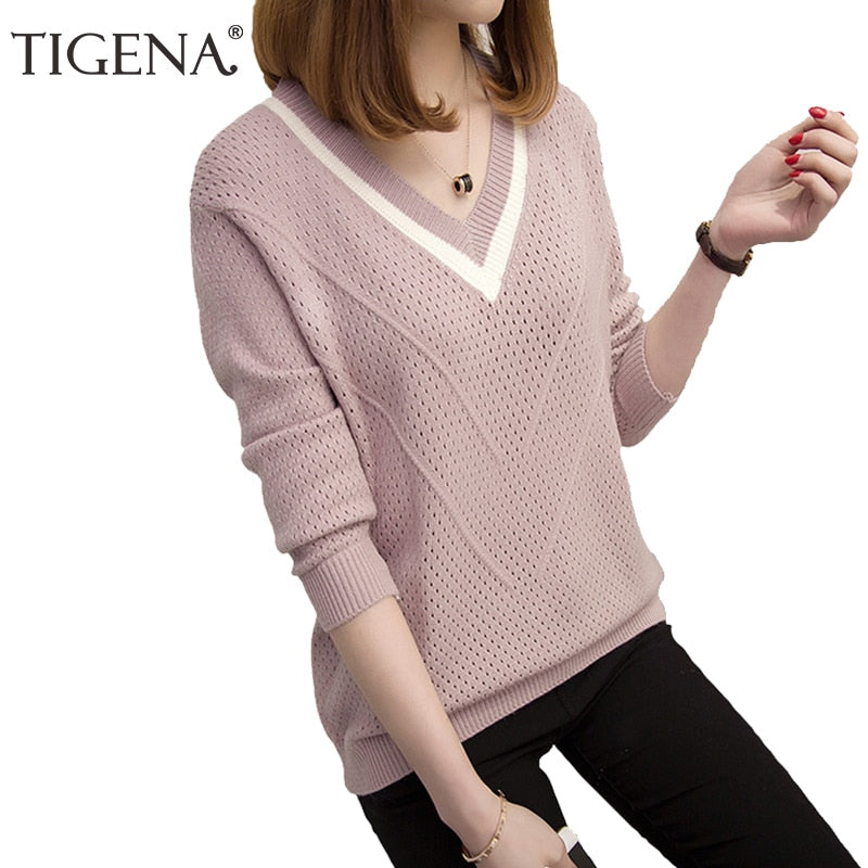 TIGENA 2018 Autumn Winter Sweater Women Jumper Hollow Out V-neck Loose Knitted Pullover Sweater Female Pull Femme Pink Khaki