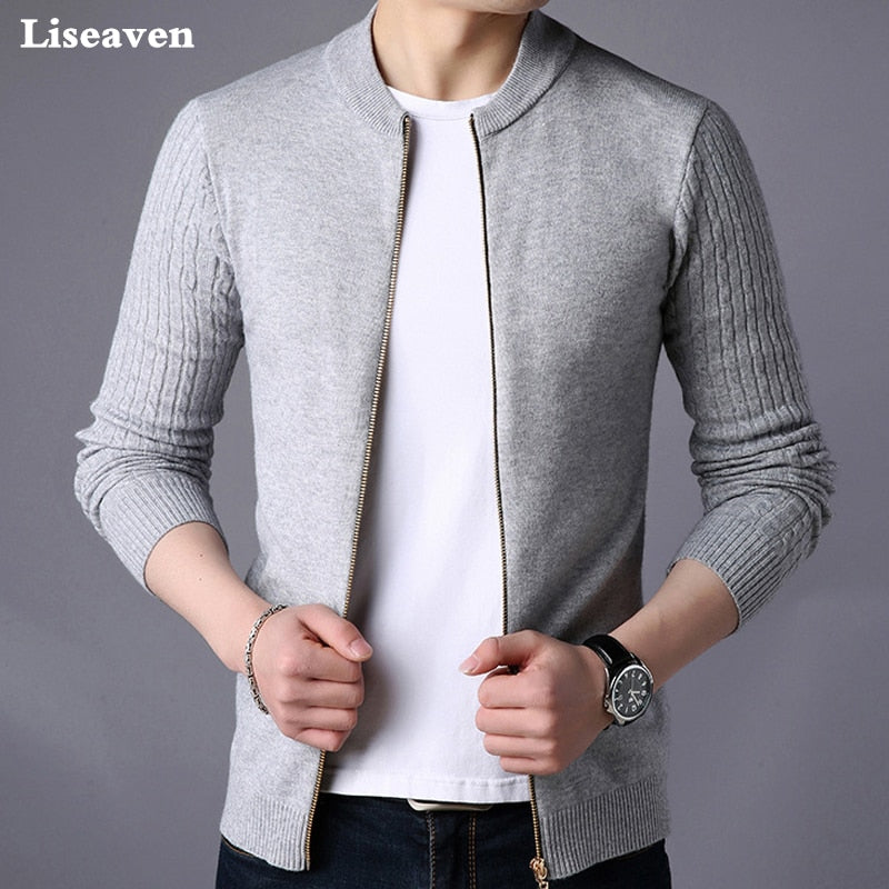 Liseaven Men's Sweater Male Jacket Solid Color Sweaters Knitwear Warm Sweatercoat Cardigans Men Clothing