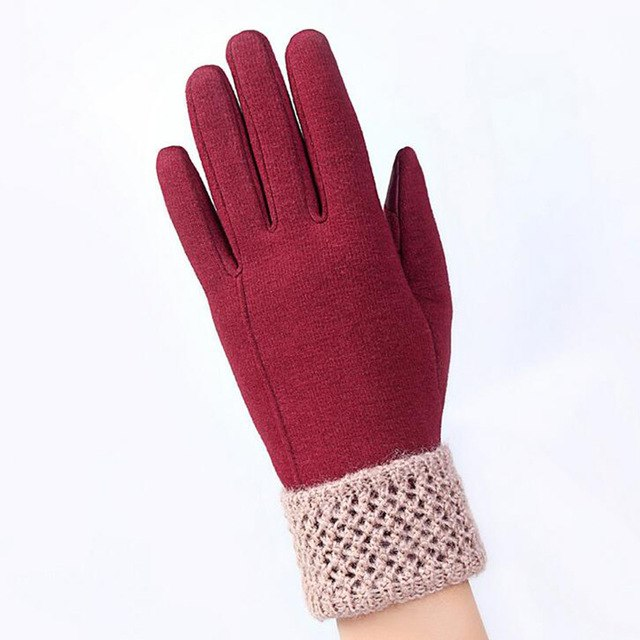 Womens Touch Screen Gloves Winter Fashion Bow Ladies Lace Splice Warm Gloves Mittens Cashmere Female Wrist Guantes Gift 16A