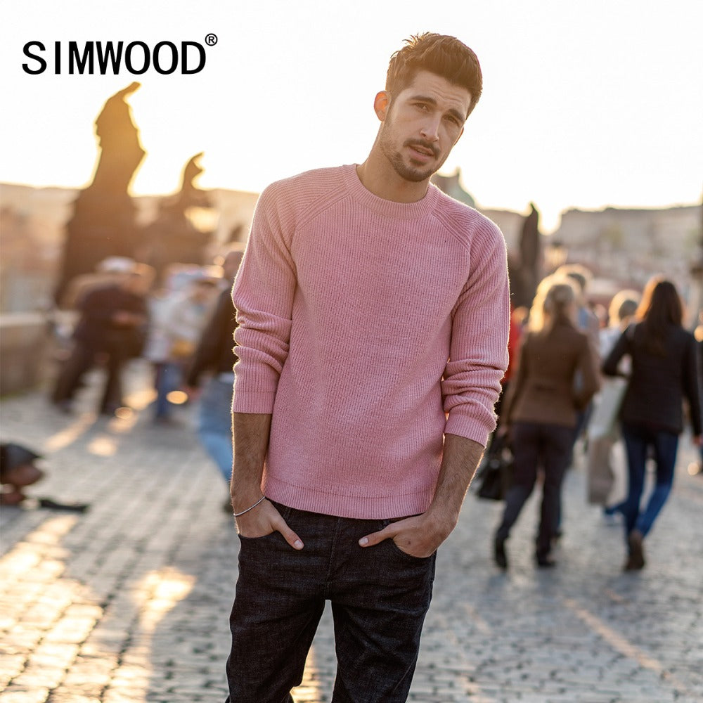 SIMWOOD New Brand Wool Sweater Men 2018 Autumn Fashion Long Sleeve Pullover Men Cashmere Knitted Sweater High Quality 180369