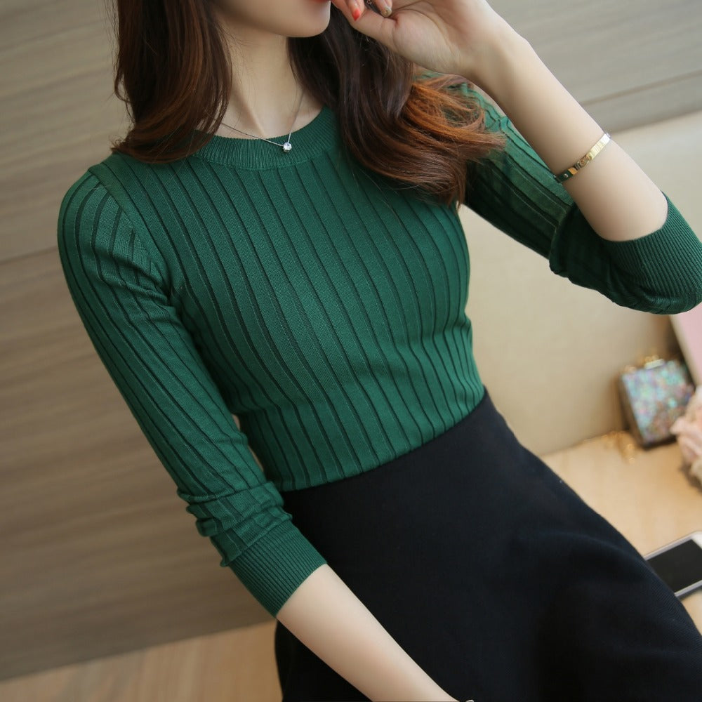 Women Sweater Pullover 2018 New Autumn Winter Green Red Black Gray Tops Women Knitted Pullovers Long Sleeve Shirt Female Brand