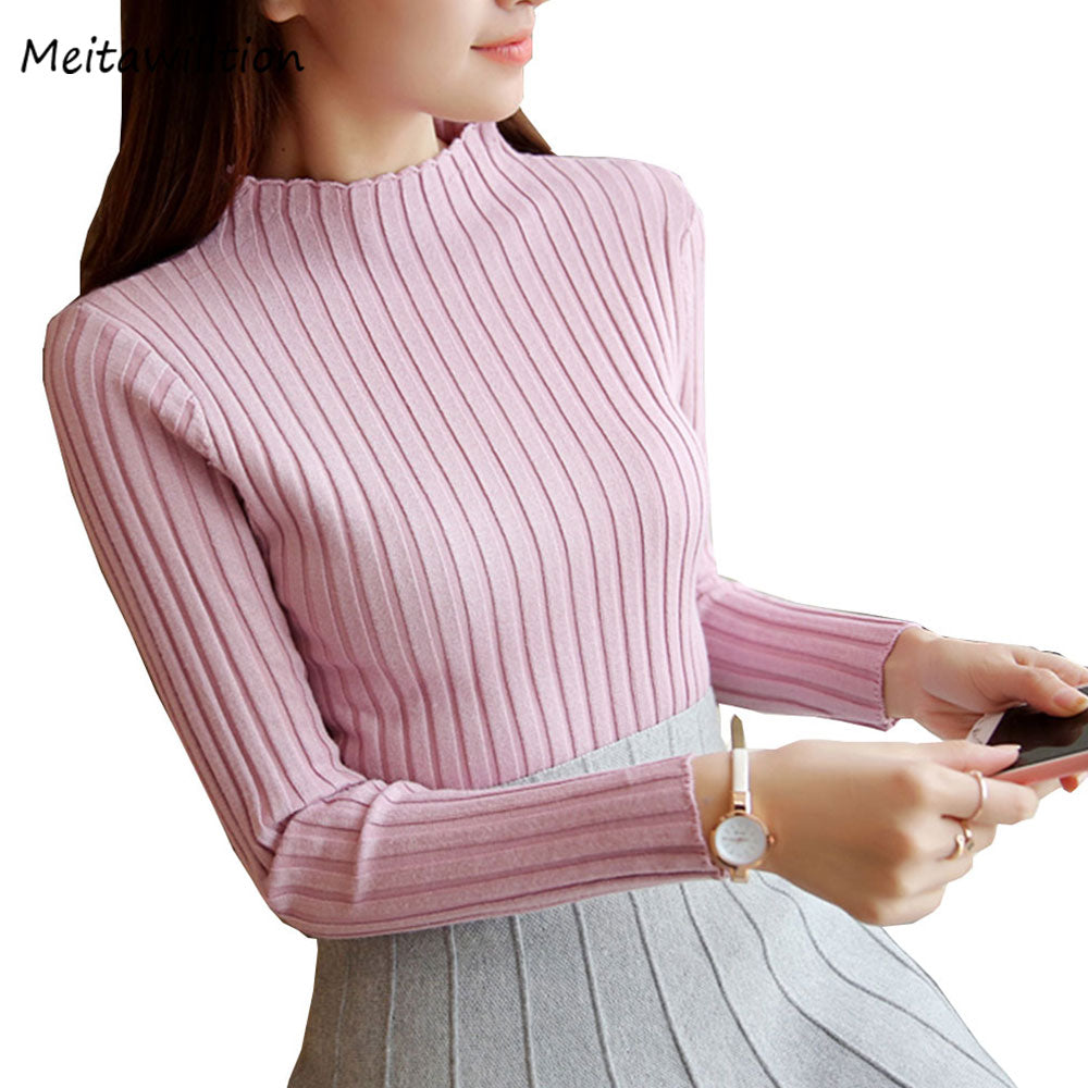 2018 New Autumn Winter Women Sweaters Fashion Turtleneck Pullovers Female Solid Ladies Knitted Sweater Slim Jumper Tops