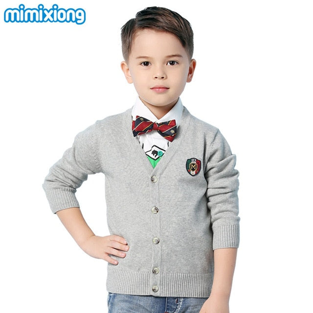 Kids Boys Sweaters Cardigan Fashion V-Neck Long Sleeve Children Knitwear Coats Autumn Outwear Toddler Knitted Jackets Clothing