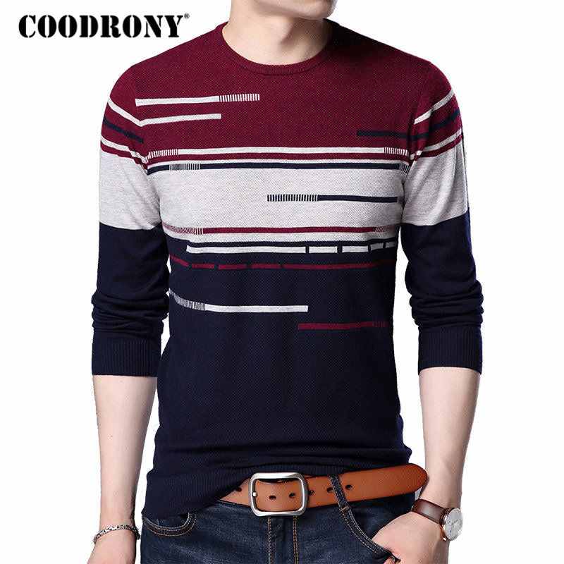 COODRONY 2018 New Arrival Cashmere Wool Sweater Men Casual Long Sleeve O-Neck Pull Homme Striped Shirt Mens Pullover Sweaters 84