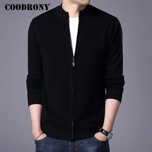 COODRONY Turtleneck Cardigan Men 2018 New Winter Thick Warm Sweatercoat Mens Merino Wool Cardigans Zipper Cashmere Sweaters 7319