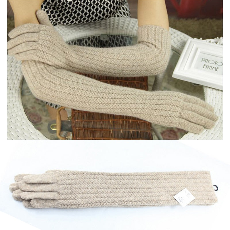 45cm Long Wool Gloves Mittens for Women Warm Winter Knitted Fashion Gloves Black Brown Grey Ladies Elbow Brand Gloves 2018 New