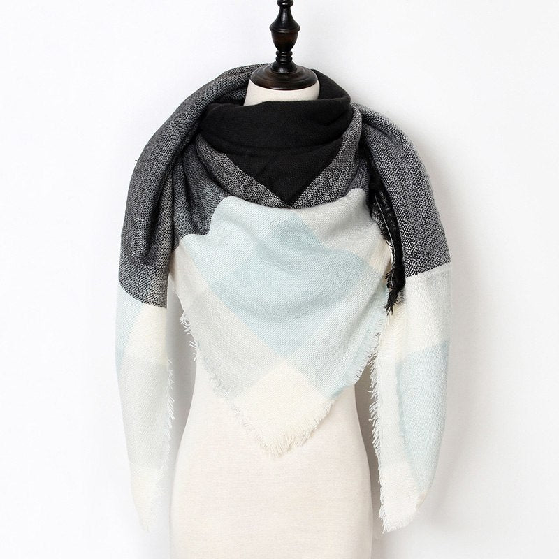New Hot Winter Scarf Women Cashmere Scarf Female Plaid Scarf Triangle Blanket Luxury Brand Warm Shawls and Scarves Drop Shipping