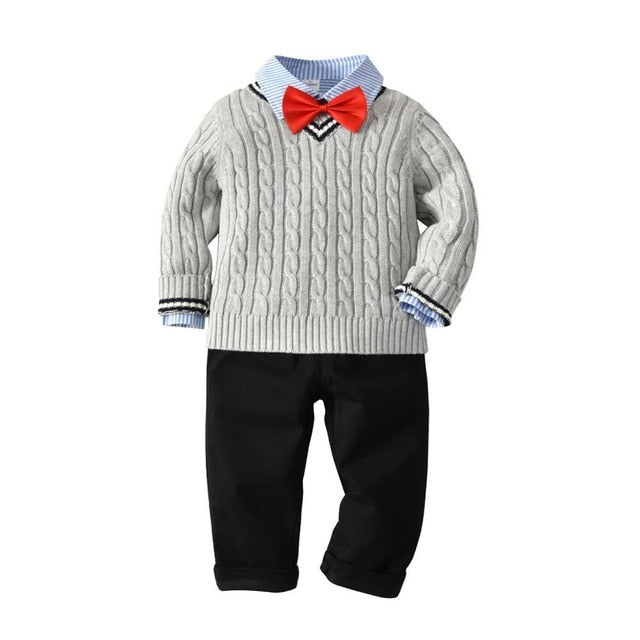 Kimocat Kids Sweater Set Knitting Outwear Winter Boys Bow Tie Sweater+Shirt+Pants 3Pcs Kids Cardigan Gentleman Cashmere Clothes