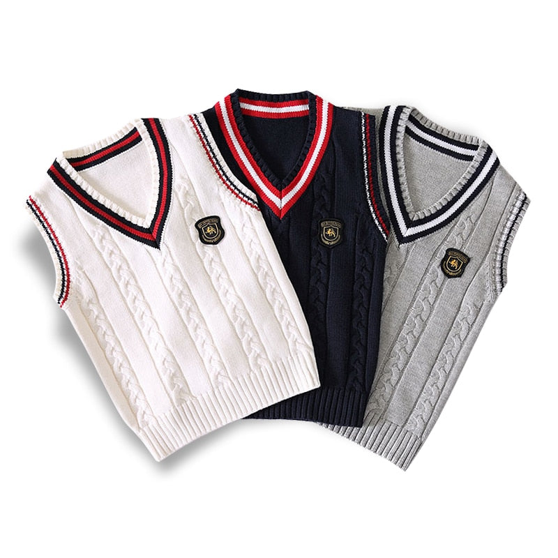Spring autumn 100% cotton cardigan teen boy's V-neck sweater vest kids waistcoat School girls winter sweaters for 4-14 Years