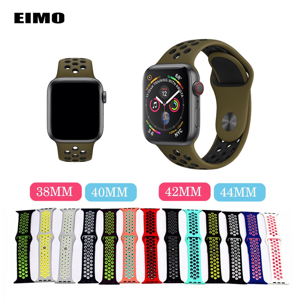 EIMO Strap for Apple Watch band 4 3 42mm44mm iwatch strap 38mm40mm series 2 Nike Sport Silicone Wrist Bracelet Watchband correa