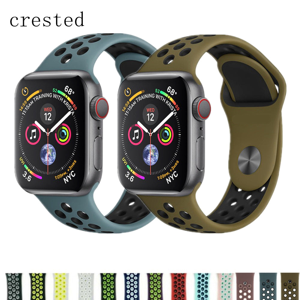 CRESTED Sport strap For Apple Watch band 4 42mm/44mm iwatch 3 band 38mm/40mm silicone correa watch bracelet belt Accessories