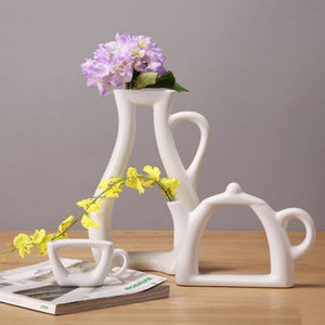3 shapes vases fashion modern style white ceramic tabletop flower 3 shapes vases fashion modern style white ceramic tabletop flower wedding decorative vase home christmas decoration junglespirit Image collections