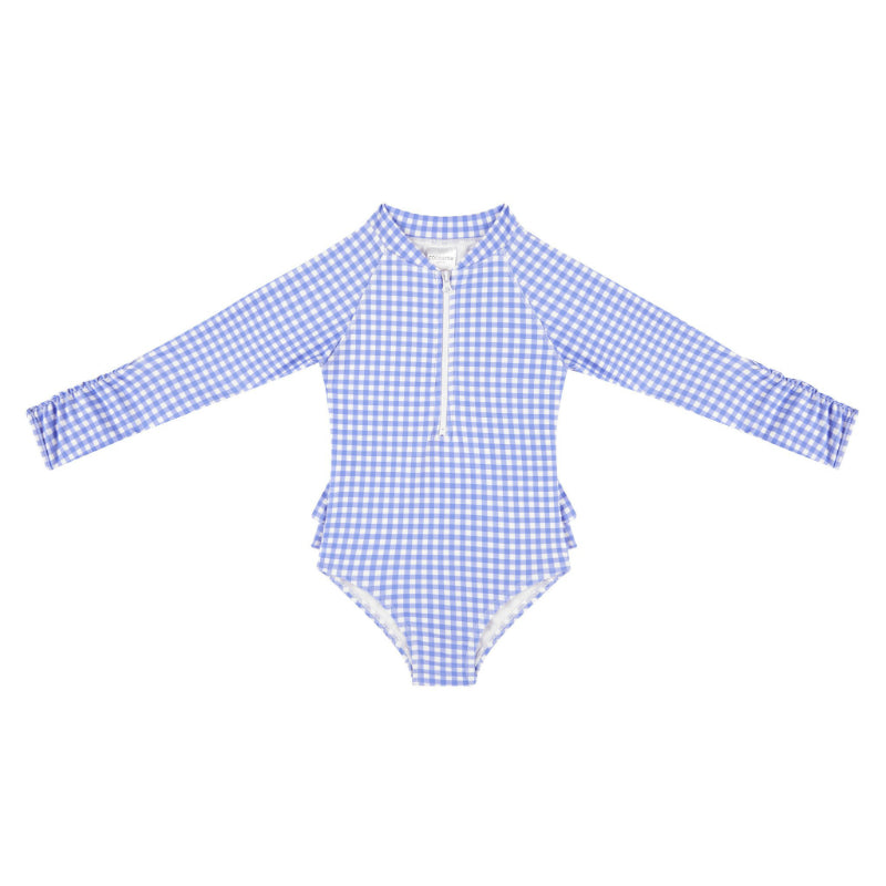 Coco & Me Swim - Blue Gingham Long Sleeve Zippered One Piece