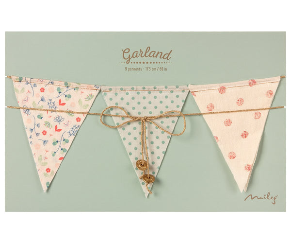 Maileg Garland Flag Bunting 9 Flags - Mix Colours