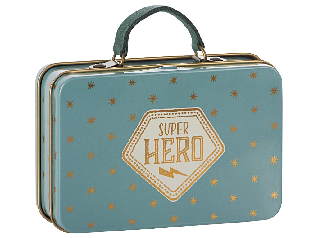 Maileg Metal Suitcase - Superhero Blue with Gold Stars