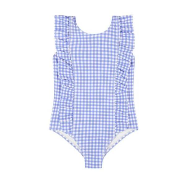 Coco & Me Swim - Blue Gingham Ruffle One Piece Swimsuit