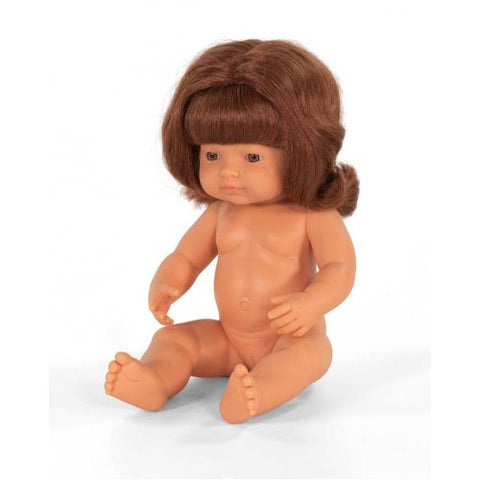 PRE-ORDER | Miniland Caucasian Baby Girl Red Head Doll (Undressed) 38cm