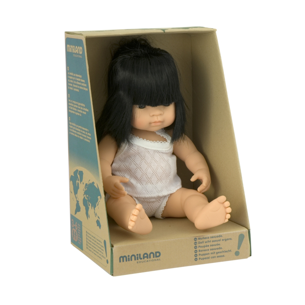 Miniland Asian Baby Girl Doll 38cm