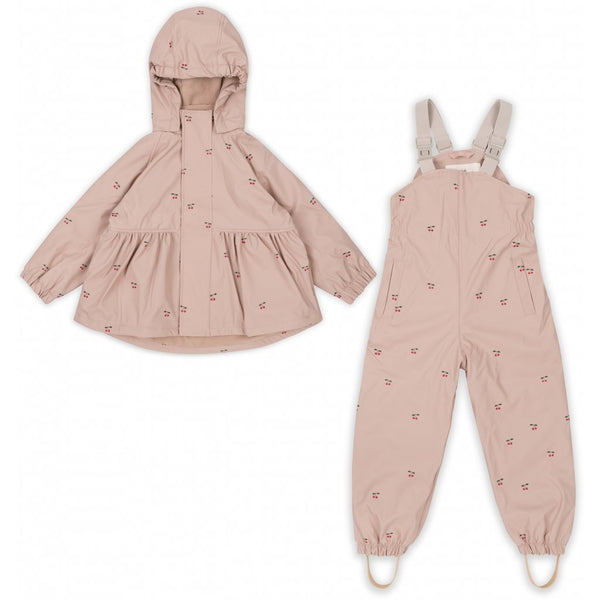 Konges Slojd Rainwear Set  (Jacket + Pants/Overalls) - Cherry Blush