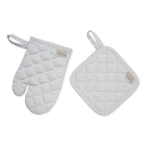 Cam Cam Copenhagen Kids Pot Holder & Oven Glove - Grey Wave