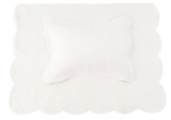 Bonne Mère (King Single) Bedspread Quilt & Pillow Set - Chalk