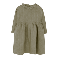 Yellow Pelota Collar Native Dress - Olive Green