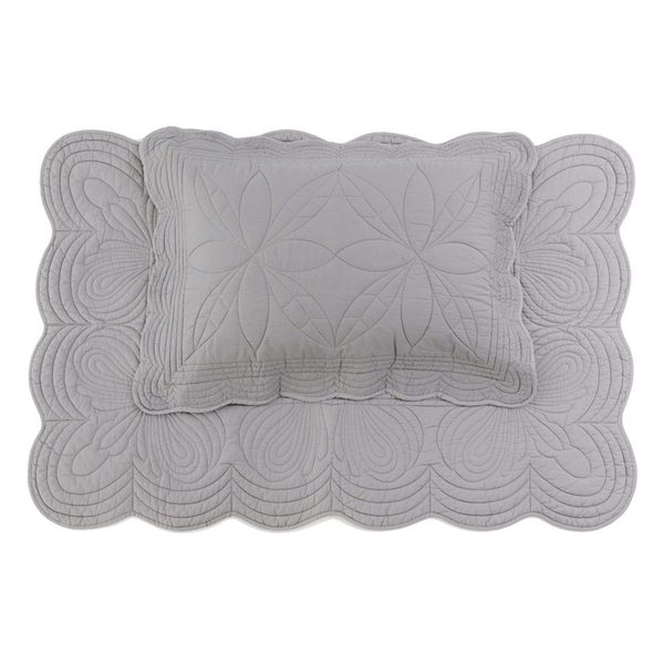 Bonne Mère Single Bedspread Quilt & Pillow Set - Elephant Grey