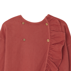 Yellow Pelota Folk Cross Blouse - Terracotta