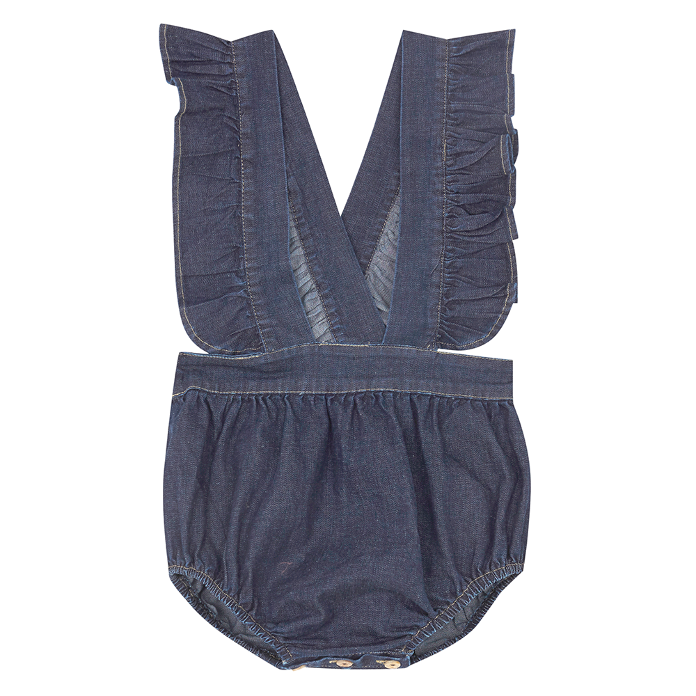 Yellow Pelota Folk Romper - Original Denim