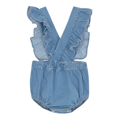 Yellow Pelota Folk Romper - Washed Denim