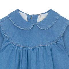 Yellow Pelota Gathered Dress - Washed Denim