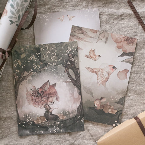 Mrs Mighetto 2 Pack Cards - Woods and Birds