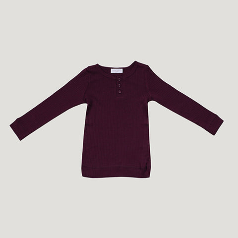 Jamie Kay Cotton Modal Henley - Mulberry