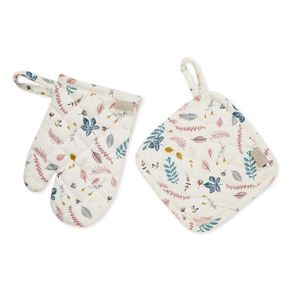 Cam Cam Copenhagen Kids Pot Holder & Oven Glove - Pressed Leaves Rose