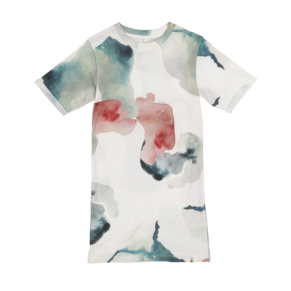 Popupshop Basic Knee Long Tee - Water Flower