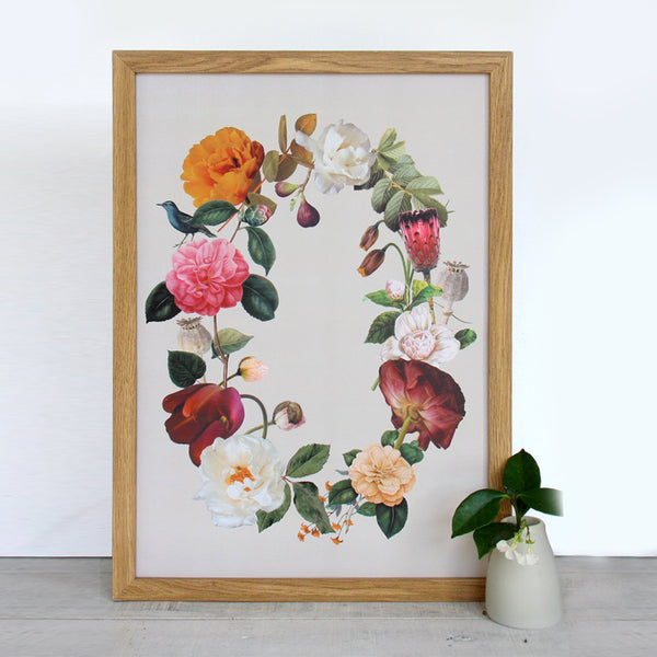 Cloud Nine Creative Floral Wreath A3 Print - Cream