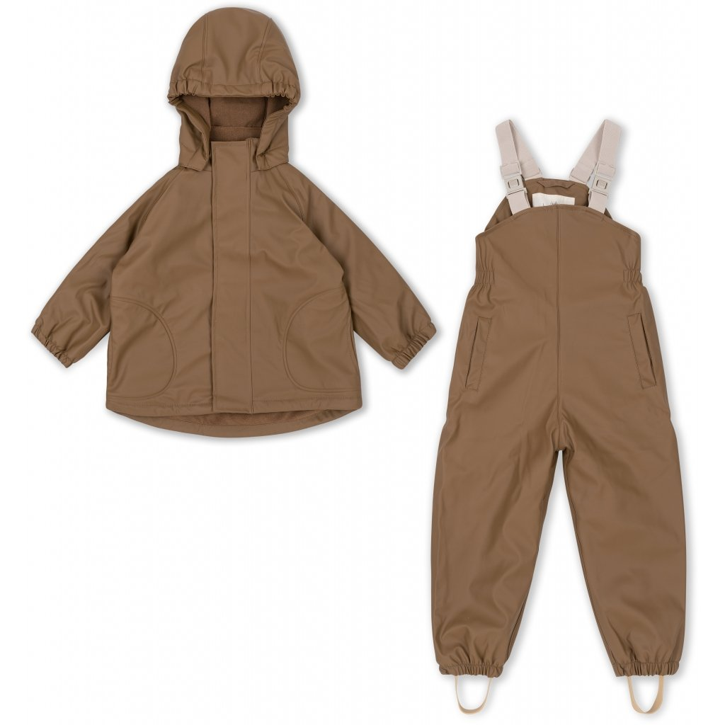 Konges Slojd Rainwear Set  (Jacket + Pants/Overalls) - Walnut