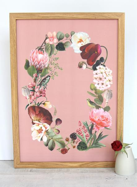Cloud Nine Creative Floral Wreath A3 Print - Pink