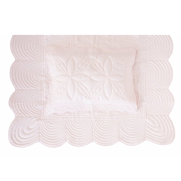 Bonne Mère Single Bedspread Quilt & Pillow Set - Powder Pink