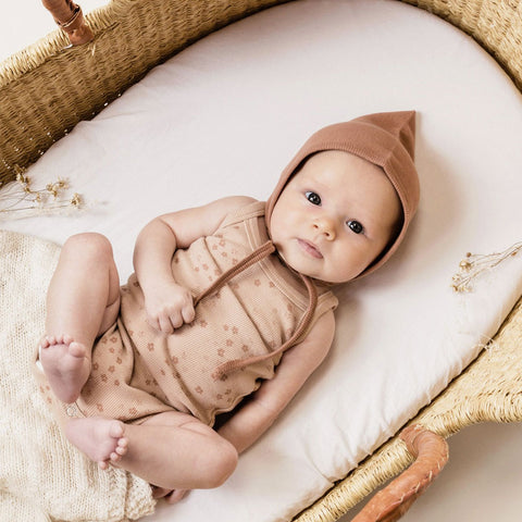 Quincy Mae Ribbed Pixie Bonnet - Clay