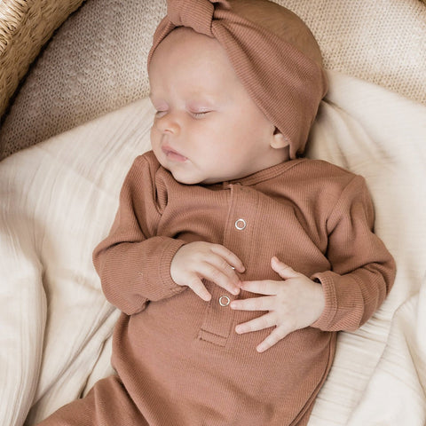 Quincy Mae Ribbed Baby Jumpsuit - Clay