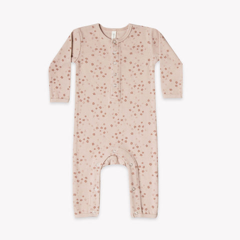 Quincy Mae Ribbed Baby Jumpsuit - Rose