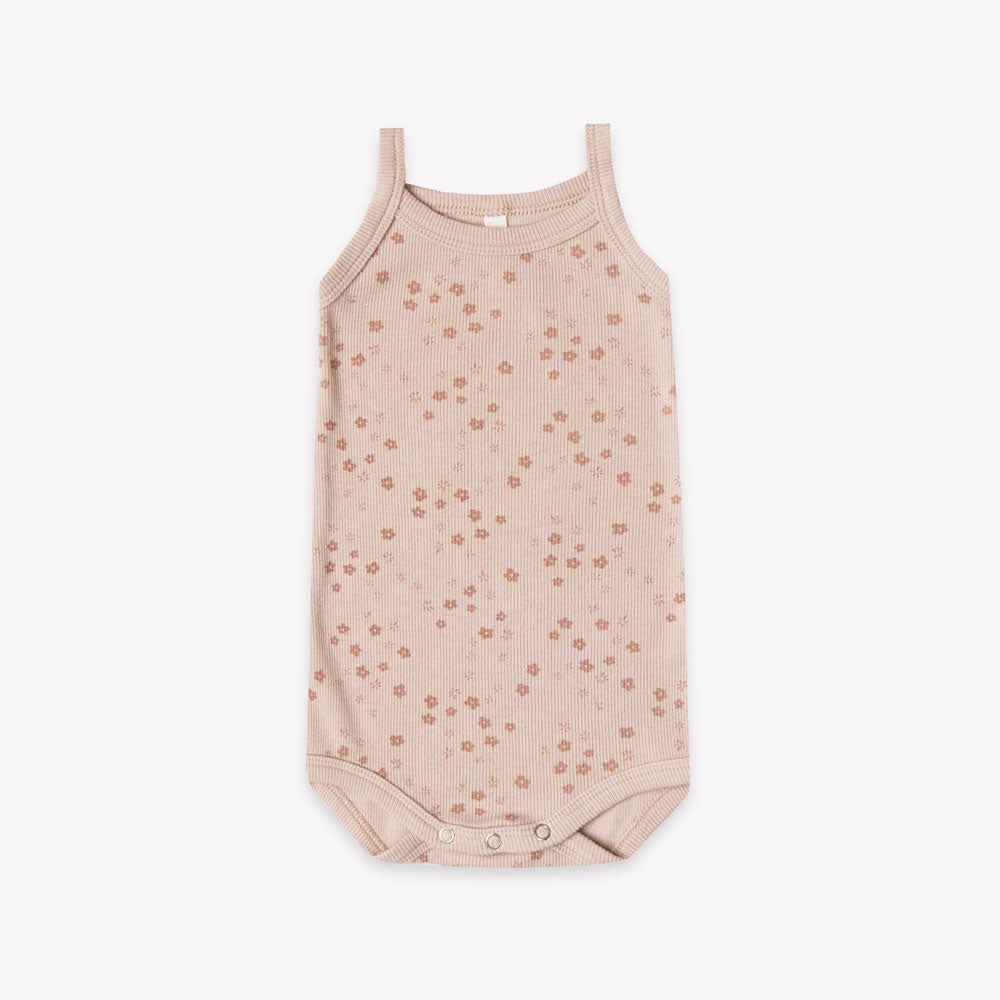 Quincy Mae Ribbed Tank Onesie - Rose