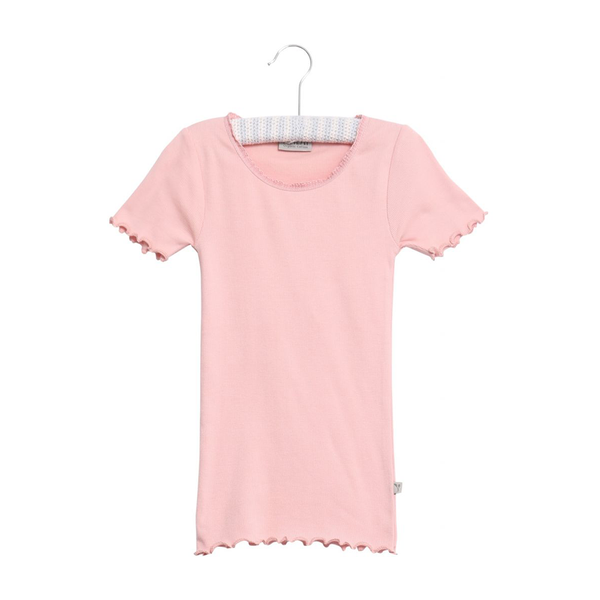 Wheat Rib T-shirt Lace - Soft Rose